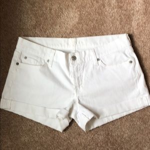 7 For All Mankind Jean Shorts, White, Sz 29